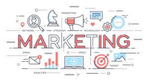Marketing, promotion, advertisement, seo, social media thin line